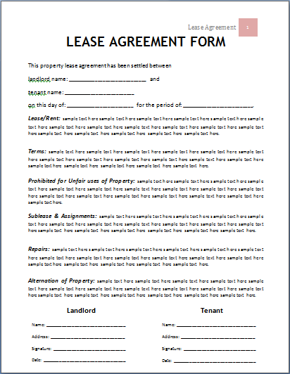 Sample Lease Agreement Template | Rental And Lease Agreement Template All Form Templates