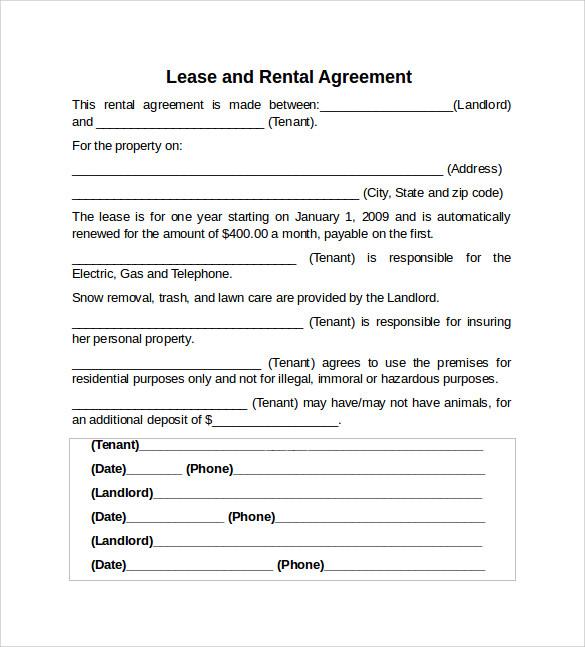 RentalLease AgreementTemplate