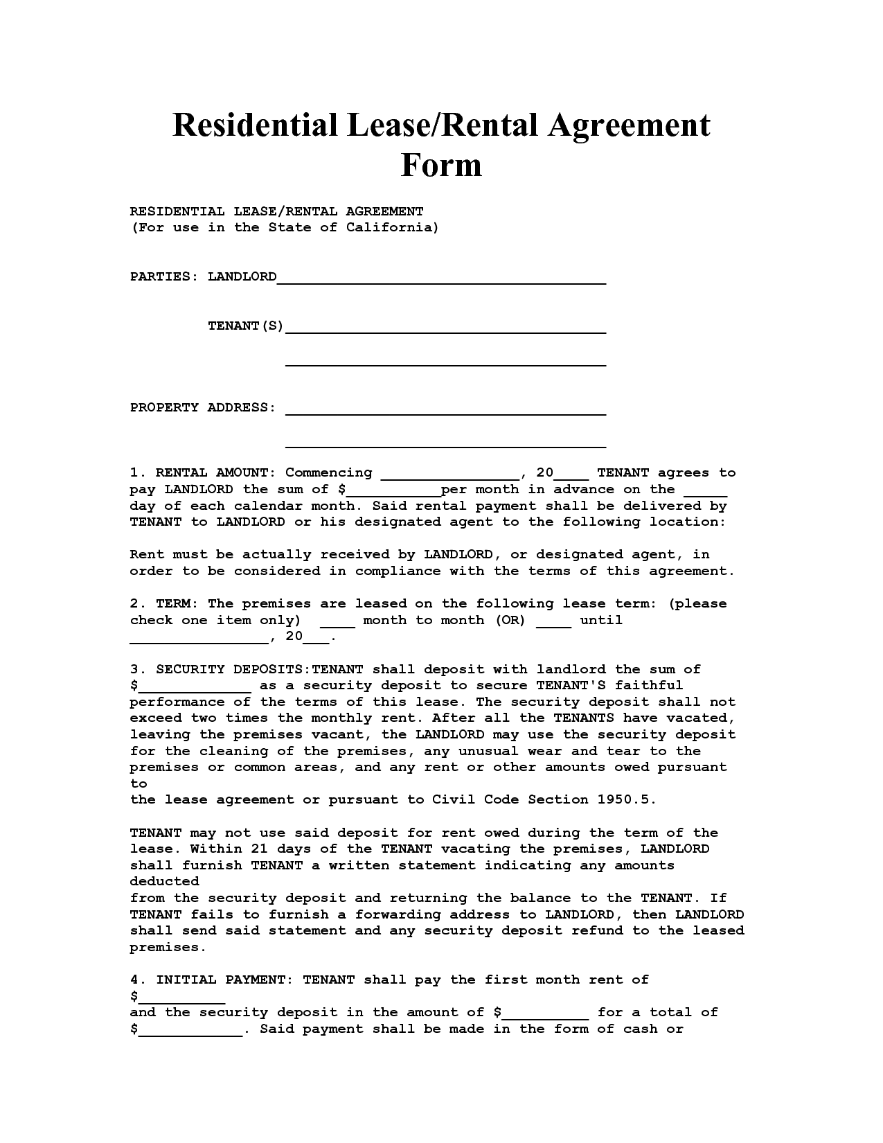 Residencial Lease Agreement Template