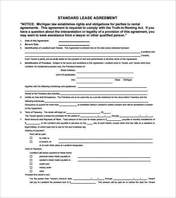 Standard Lease AgreementTemplate