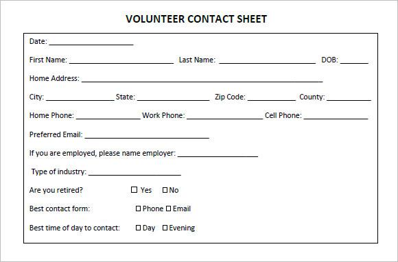 volunteer-contact-sheet