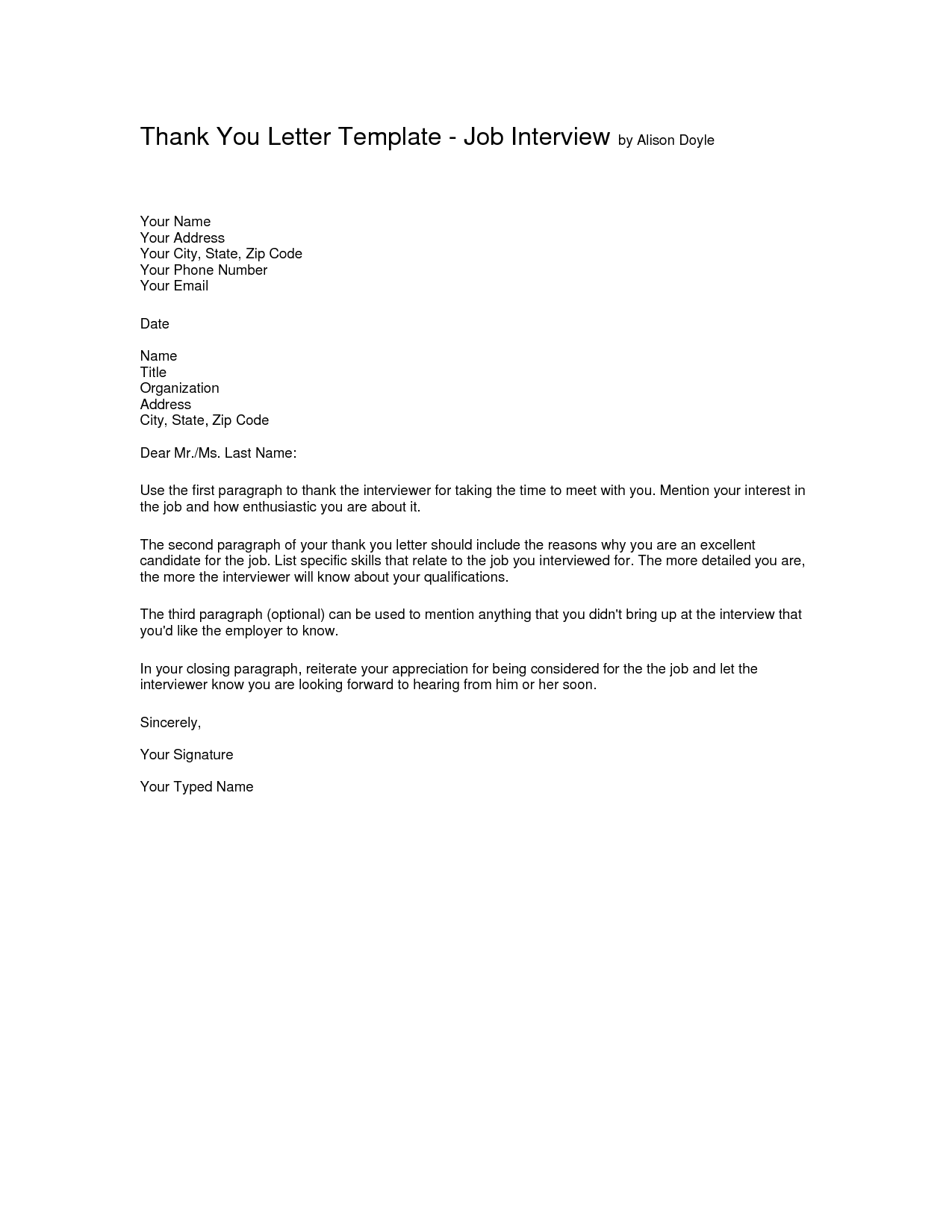 Interview Thank you Letter Template Thank you letter – Thank You Email Template
