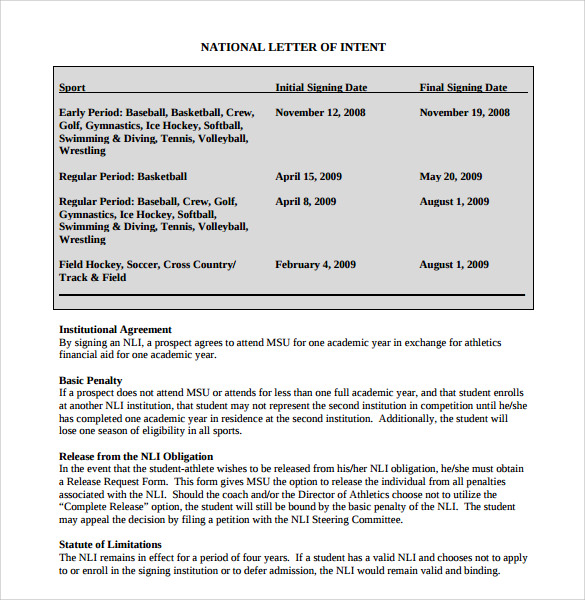 National Letter of Intent Rules Template