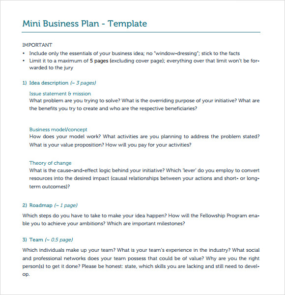 Mini-Business-Plan-Template