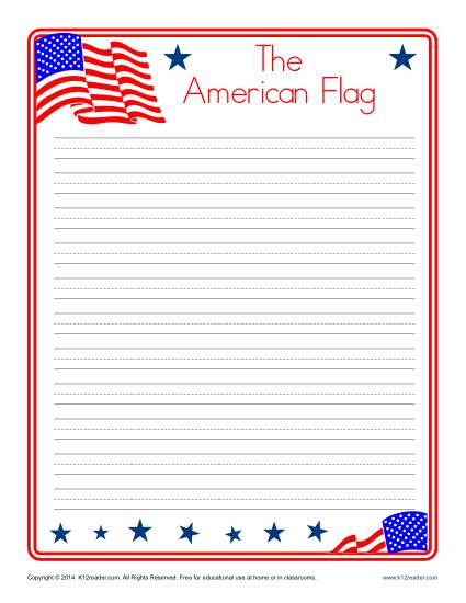American Flag Lined Writing Paper