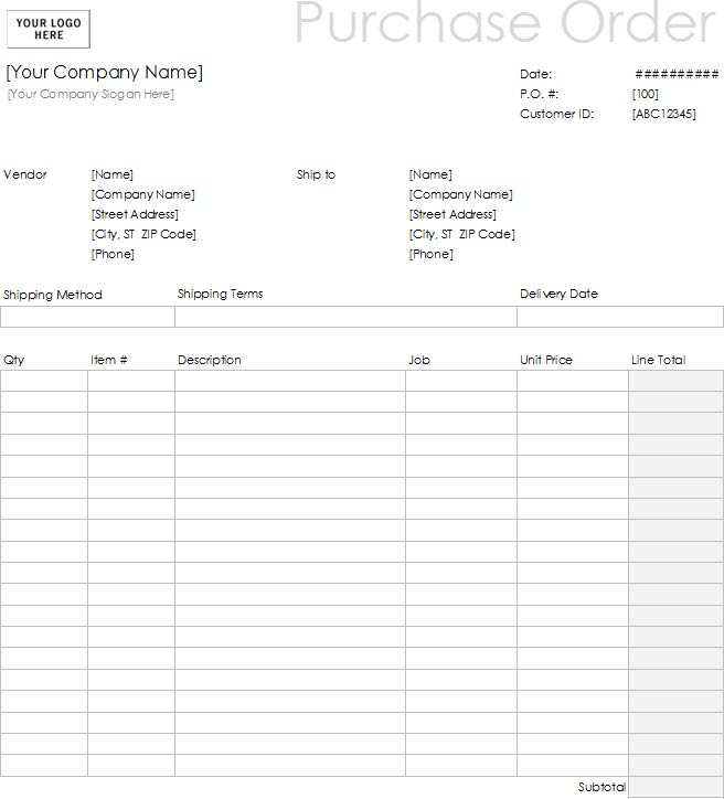 Samples Of Purchase Order Templates In Word Excel And Pdf