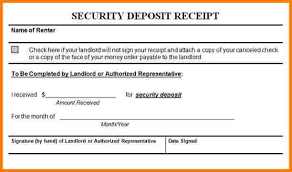 Security Deposit Receipt