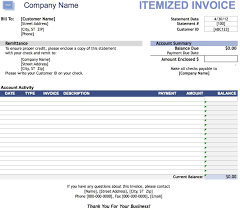Itemized Service Invoice Template