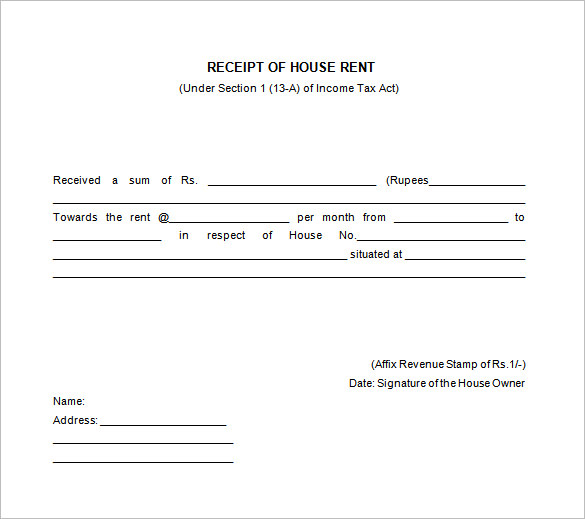 Free Receipt Printable Template For Excel Word Pdf Formats All
