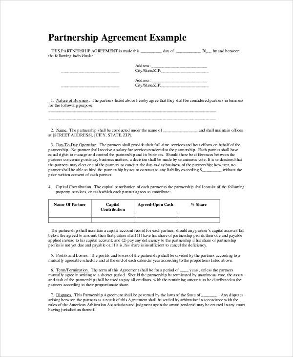 5 Partnership Agreement Templates With Tips All Form