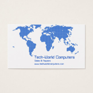 Blue and White Business Card with World Map