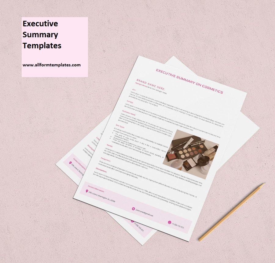 Cosmetic Executive Summary Template
