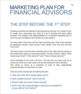 Financial Adviser Marketing Plan Template