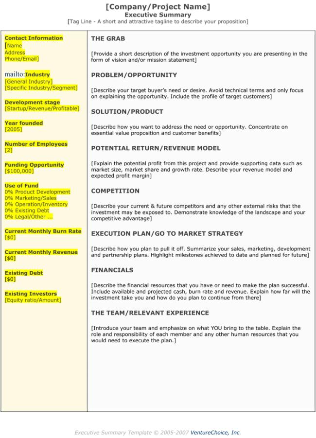 Project Executive Summary Templates