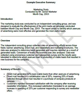 University Executive Summary Template: