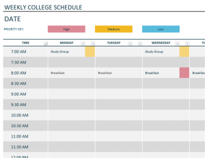 Weekly College Schedule Template