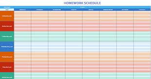 Weekly Homework Schedule Excel Template