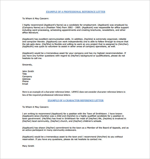 example of professional reference letter