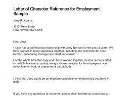 character reference for employment sample
