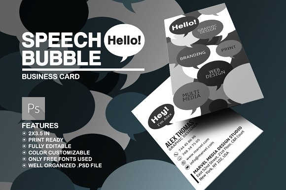 Creative Speech Bubble Business Card Template