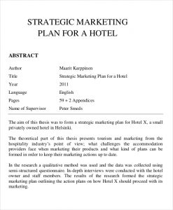 Strategic Marketing Plan for a Hotel