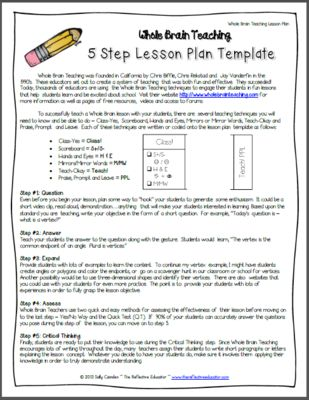 5 Steps Lesson Plan Template