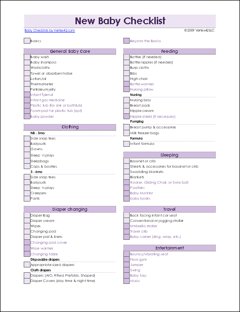 Baby Supply List Template