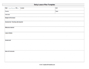 Blank Daily Lesson Plan Template PDF
