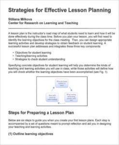 Effective Lesson Plan Sample