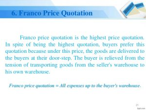 Franco Price Quotation