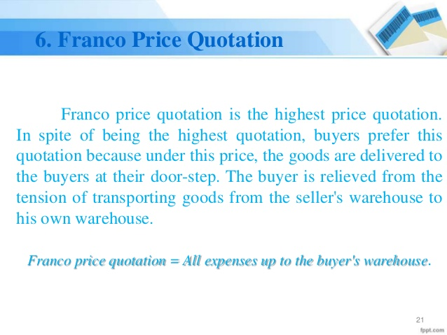 Franco Price Quotation