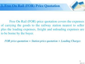 Free On Rail (FOR) Price Quotation