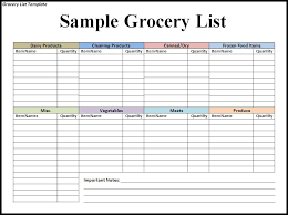 Grocery Supply List Order Template