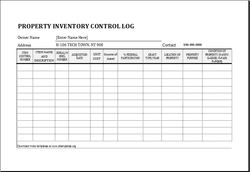 Log Sheet Inventory Form