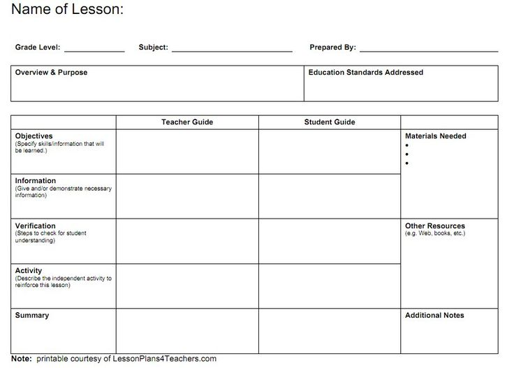 Teacher Lesson Plan Templates