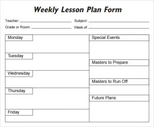 effective weekly lesson plan