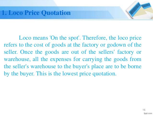 loco Price Quotation template