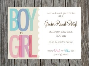 Gender reveal party invitation template