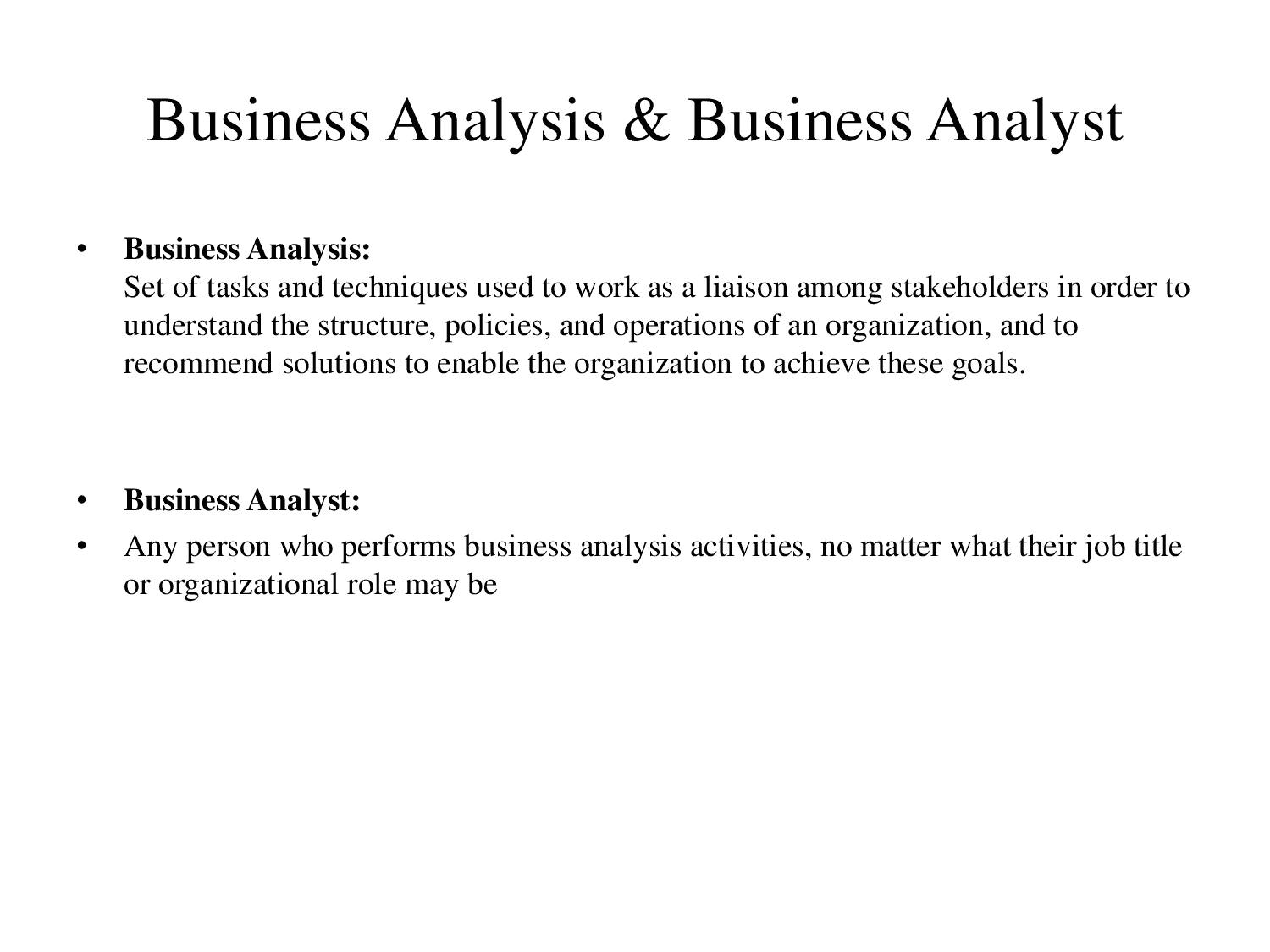 business analysis introduction