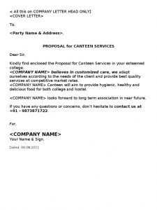Catering Business Proposal Letter