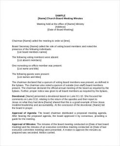 Church Meeting Minutes Templates