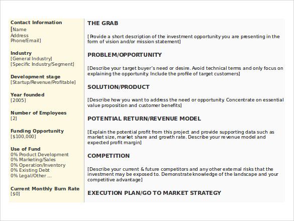 Download Business Summary Template