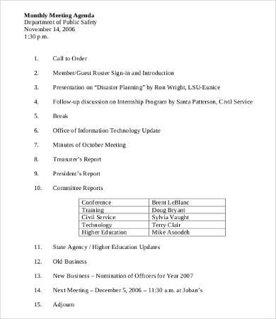 Monthly-Department-Meeting-Agenda-Template