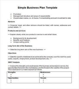 Printable Business Plan Summary Template