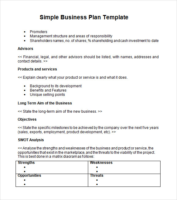 Printable Business Plan Summary Template