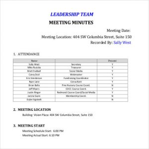 Team Meeting Minutes Templates