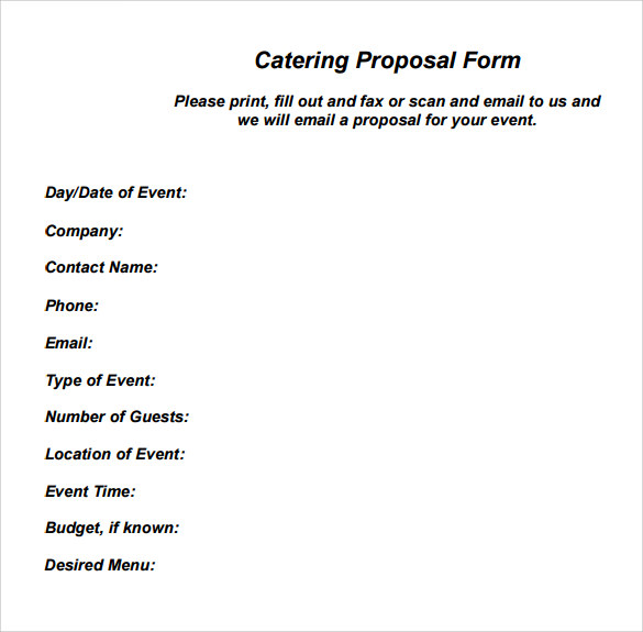 catering proposal form