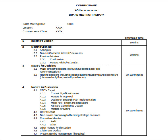 itinerary meeting templates