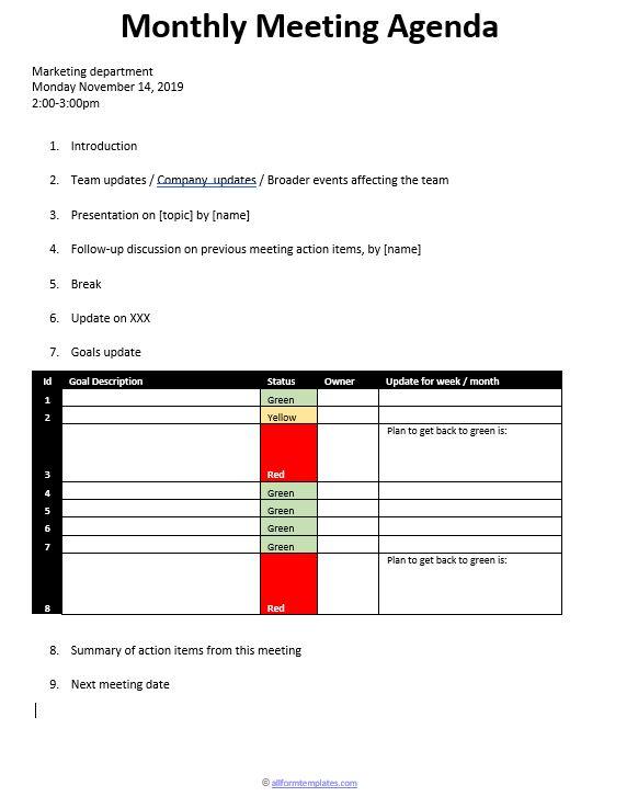 monthly-department-meeting-agenda