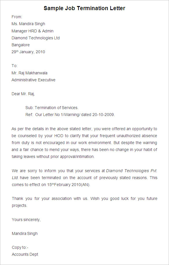 Free Printable Job Termination Letter Template